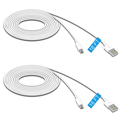 2 Pack 16.4FT Power Extension Cable for Wyze Cam Pan/WyzeCam/ Kasa Cam/YI Dome Home Camera/Furbo Dog/Nest Cam/Arlo Q/Blink/Amazon Cloud Camera,USB to Micro USB Durable Charging and Data Sync Cord by MENEEA