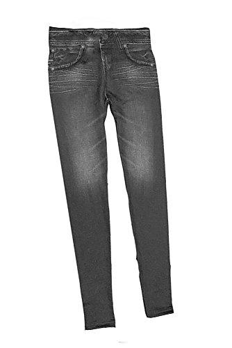 Vococal - Pantalones Vaqueros Imitado Inconsútil de Leggings para Mujeres con Bolsillos,Color Azul(L) Negro