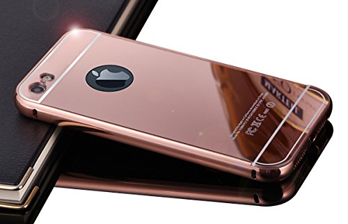 iPhone 5 5S Case,DAMONDY Luxury Metal Air Aluminum Bumper Detachable + Mirror Hard Back Case 2 in 1 Cover Ultra-Thin Frame Case for Apple iPhone 5 5S(Rose_Gold)