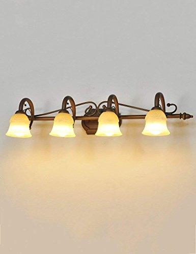 CWJ Lámparas de Espejo de baño- Hierro Continental Espejo retroiluminado Pantalla de Cristal Luces Delanteras Espejo Luces...