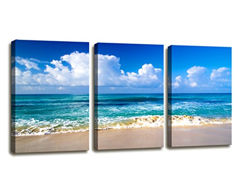 - Moyedecor Art - Blue Beach theme Modern Stretched and Framed Seascape 3 panels Giclee Canvas Prints Artwork Landscape Pictures Paintings on Canvas Wall Art for Home Decor Ready To Hang