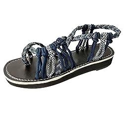 Lelili Women Summer Fashion Rome Bandage Sandals Peep Toe Casual Flat Beach Sandals Boho Flip Flops Casual Shoes Dark Blue