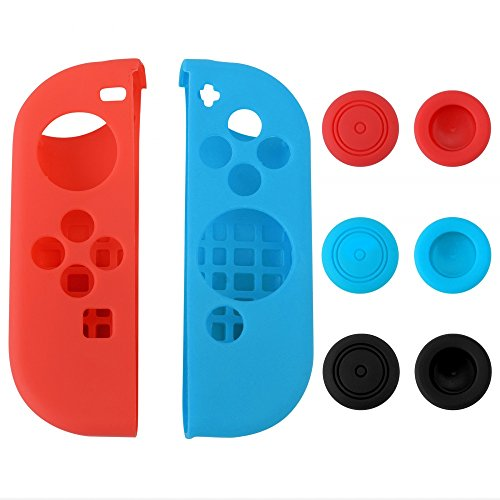 eXtremeRate® Silicone Case Thumb Stick Caps Gel Guards for Nintendo Switch Joy-Con Controller Protector Protection Kits Left Red Right Blue