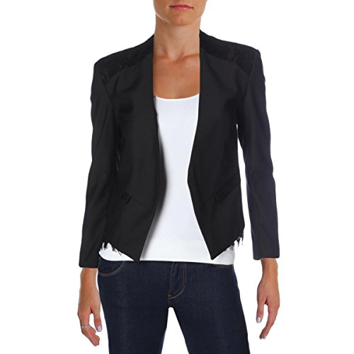Generation Love Womens Linn Lace Inset Long Sleeves Open-Front Blazer Black M by Generation Love