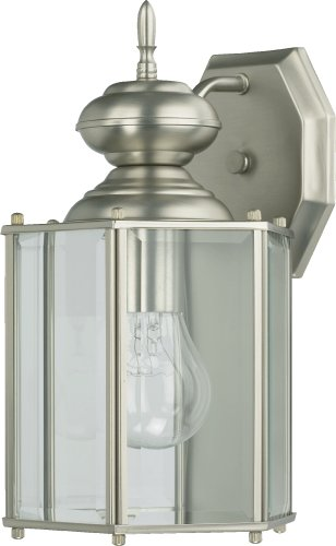 Quorum International Q717 Lantern 1 Light Outdoor Wall Sconce, Satin Nickel