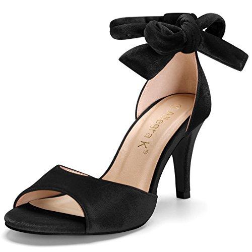 Women Black up K Velvet Sandals Lace Stiletto Allegra qwAxHCx