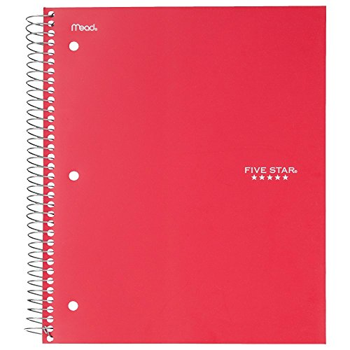 "043100062080 - Five Star Spiral Notebook, 5 Subject, College Ruled Paper, 200 Sheets, 11"" x 8-1/2"", Color Will Vary (06208) carousel main 5"