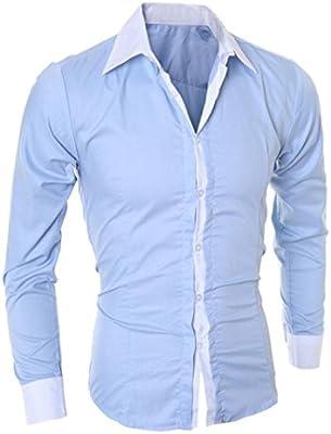 Camisas Hombre,Camisa de Hombre de Negocios Camisa de Manga Larga Casual para Hombre Camisa de Vestir Slim fit Camisa de Vaquero Blusa Tops Outwear (L, Azul): Amazon.es: Deportes y aire libre