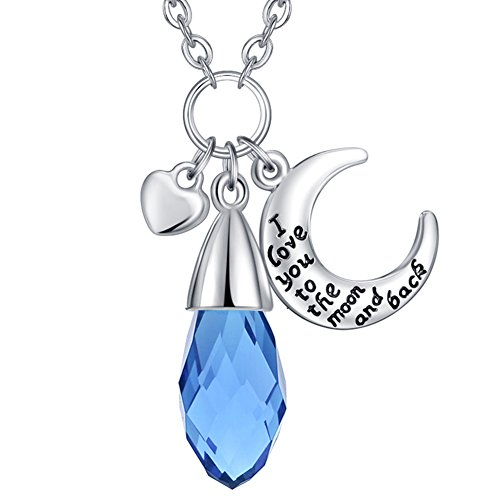 Simulated Blue Topaz Birthstone Drop Necklace