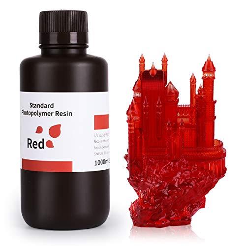 ELEGOO LCD UV 405 nm Harz Schnell für LCD 3D-Druck Flüssigkeiten 1000 g Photopolymer Kunstharz, rot, 1
