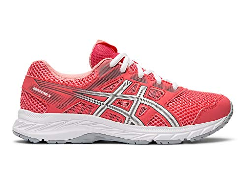 (ASICS Kid's Gel-Contend 5 GS Running Shoes, 4.5, Pink Cameo/White)