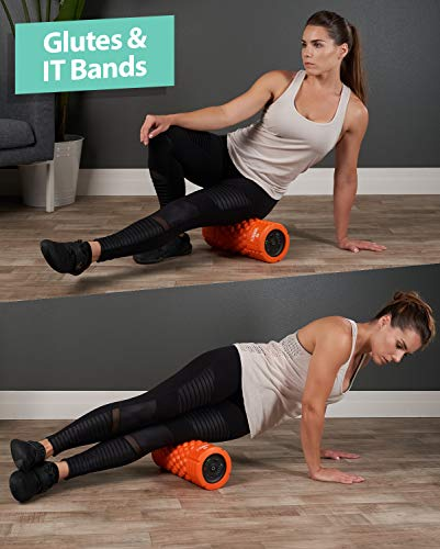 Vibrating Foam Roller - 5-Speed Massager and Roller for Muscle Recovery, Deep Tissue Trigger Point Massage Therapy - 5 Levels from Low To High Intensity Massage For Workouts -Includes Stretching Guide by URBNFit (Image #6)
