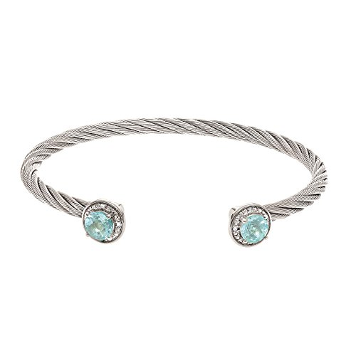 Stainless Steel+Silver with Rhodium Finish Cuff Bangle with 6mm Blue Topaz+0.03Ct.Diamond by BH 5 Star Jewelry