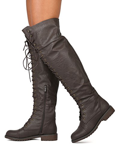 Women Leatherette Over The Knee Lace up Combat Boot FG08 - Brown (Size: 8.0) by Nature Breeze (Image #1)