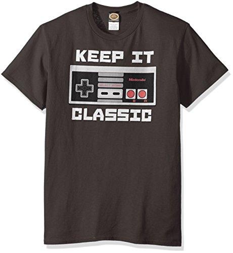 Mario T-shirt Tee - Nintendo Men's Keep It Classic T-Shirt, Charcoal, Medium