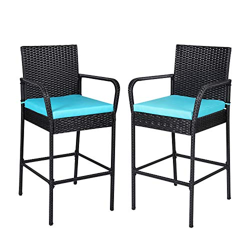 All Weather Bar Stools Patio Furniture Counter Height Outdoor PE Rattan Seating Dining Chairs with Footrest and Back Support Set of 2