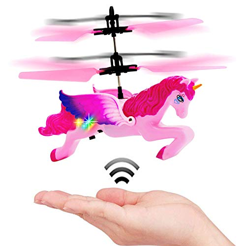 Lee Joseph Suitable for Girls Over 5 Years Old Unicorn Toys,Flying RC Pink Mini Remote and Hand Controlled Unicorn Helicopter Doll,Professional for Your Child by Lee Joseph