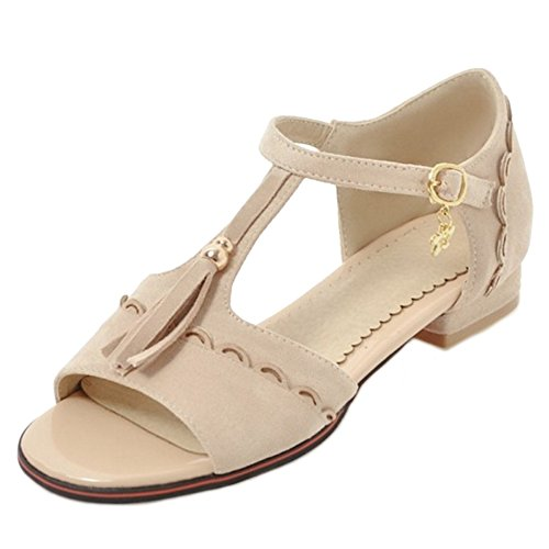 SJJH Casual Sandals with Low Heel and Suede Materail Women Sandals with Large Beige BMQEcBJ