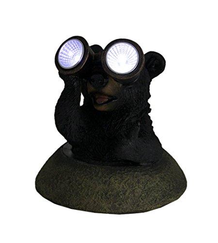 Price comparison product image Zeckos Adorable Solar Eyes Binoculars Black Bear LED Accent Light Statue