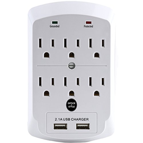 Surge Protector, Electronics Charging Station, 6 Outlet 2 USB Port Wall Adapter with Safety Indicator Lights - White - By Office + Style