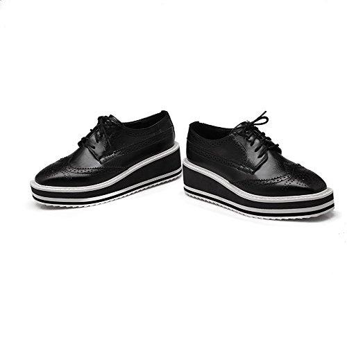 VogueZone009 Women's PU Kitten-Heels Closed Square Toe Solid Lace-up Pumps-Shoes Black JtBpaX