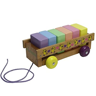 Holgate ToysMy 1st Block Wagon Wooden Toy : Push And Pull Baby Toys : Baby