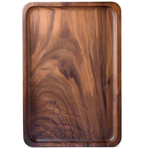 Bamber Wood Rectangular Serving Trays, Medium, Black Walnut, 13.4 x 9 Inches - Melamine Display Tray