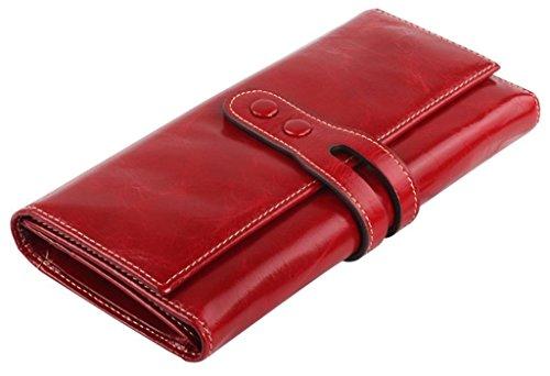 obosoyo-womens-wax-cow-leather-long-clutch-wallet-purse-card-holder-zipper-pocket-red