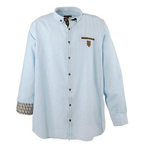 Smartes Herren langarm Hemd in Übergröße von Lavecchia in Leinen Optik hellblau