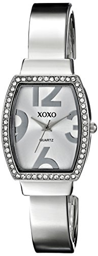 XOXO Womens XO1095 Rhinestone Accented Tonneau Silver Dial Bangle Watch