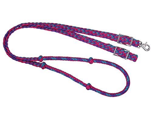 (Tough-1 Knotted Cord Roping Rein Purp/Rasp/Teal )