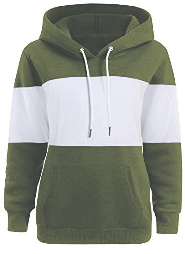 Dasbayla Women's Color Block Casual Sweaters Long Sleeve Winter Hoodies M