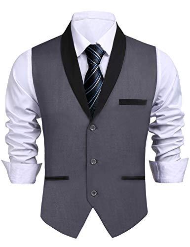 Daupanzees Men's Suit Vest Designer Soli...