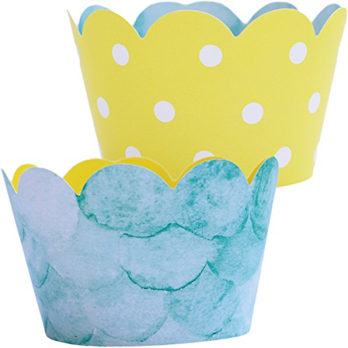Baby Shower Shark Party Supplies - 36 Cupcake Wrappers | Reversible Yellow Polka-Dot, Water, You Are My Sunshine Party Decorations, Pool Party Supplies, The Big One Birthday Theme Fishing, Easter (Sun Liners Cupcake)