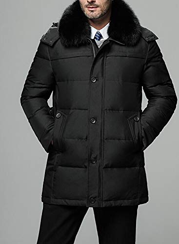 Cromoncent Mens Winter Thicken Detachable Hooded Puffer Mid-Length Down Jacket