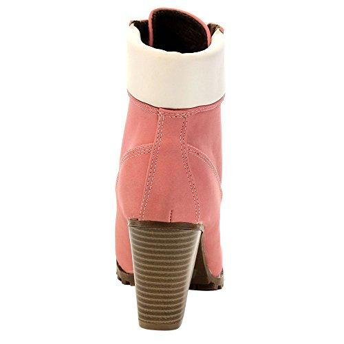 Bellamarie Cici-10 Damesschoen Met Veters Aan Elkaar Gestapelde Tongzool Werkschoentjes, Kleur: Roze, Maat: 5,5