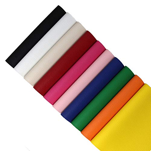 Faux Leather Fabric PVC Vinyl Craft Leather for DIY Hair Bows Headband Earrings A4 Size, 10 Colors (Bright)