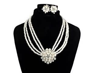 BONAMART Initial Crystal with Pearl Choker Pendant Necklaces Chain Earring Set for Women Bride Wedding 2406