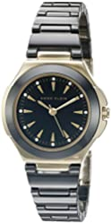 Anne Klein Women's AK/2176BKGB Crystal Accented Gold-Tone and Black Ceramic Bracelet Watch