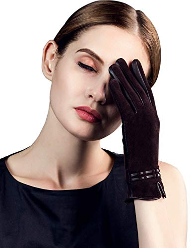 (YISEVEN Women's Winter Sheepskin Suede Touchscreen Leather Gloves Elegant Design Wool Lined Fleece Warm Dress Slim Long Fur Cuffs Driving Heated Cold Weather Work Xmas Gifts, Brown 7.5