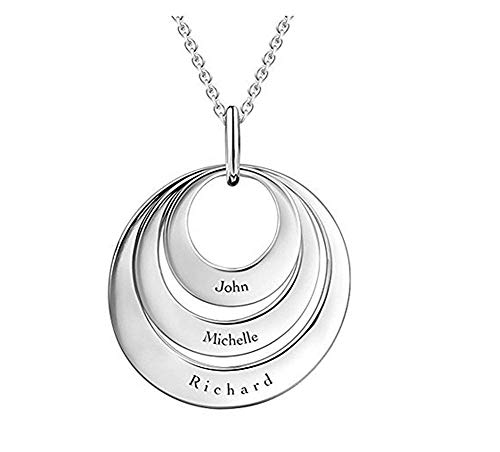 DXYAN Personalized Disc Necklace - Engraved with Any Name -A for Mom!(Golden|22.0 inches) ()