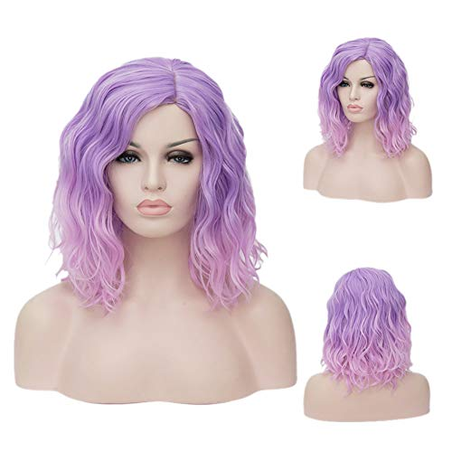 TopWigy Women Cosplay Wig Medium Length Curly Body Wave Colorful Heat Resistant Hair Purple Wigs Costume Party Bob Wig with Wig Cap (Light Purple to Pink 16