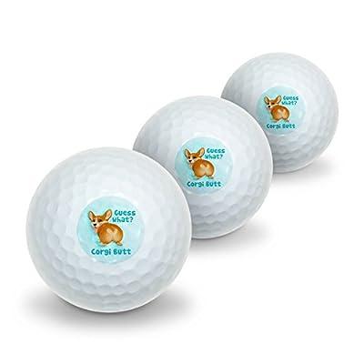 GRAPHICS & MORE Guess What Corgi Butt Funny Joke Novelty Golf Balls 3 Pack