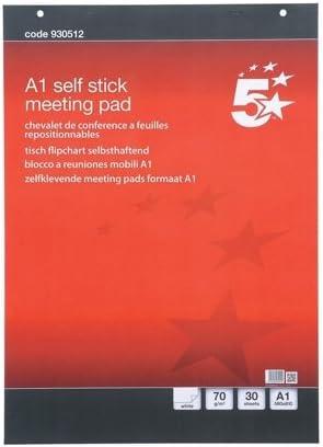 colore: bianco 30 fogli 2 pz 70 g//mq 5 Star FL1240007 Blocchi a fogli mobili A1 autoadesivi