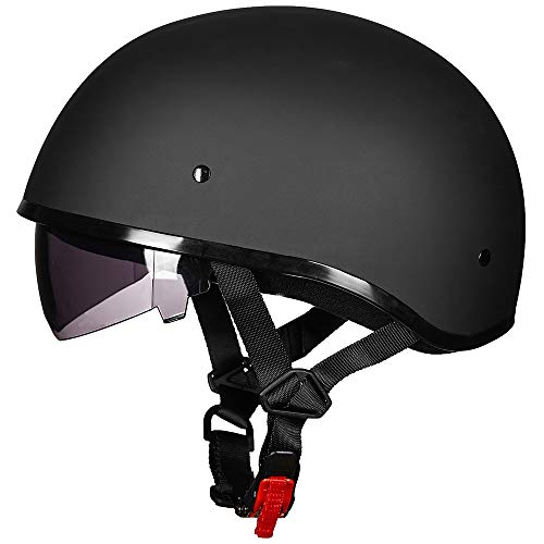 ILM Motorcycle Half Helmet with Sunshield Quick Release Strap Half Face Fit for Bike Cruiser Scooter Harley DOT Approved (M, Matte Black)