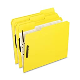Pendaflex Folders With Embossed Fasteners, 1/3 Cut, Top Tab, Letter, Yellow, 50 Per Box,(21309)
