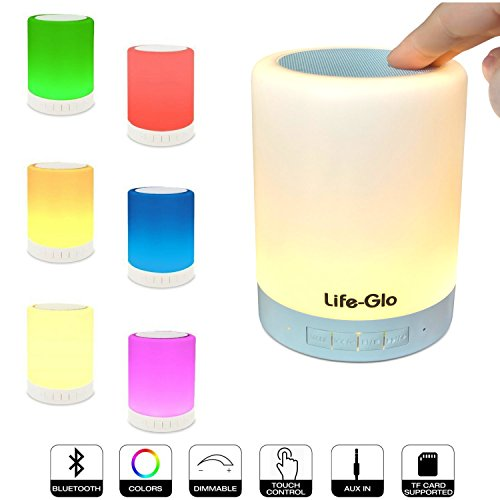 Life-Glo Night Lamp with Portable Wireless Bluetooth Speaker, Smart Touch Control LED Color Changing Bedside Table Speaker Light with Dimmable Warm Night Light Perfect for Gifts