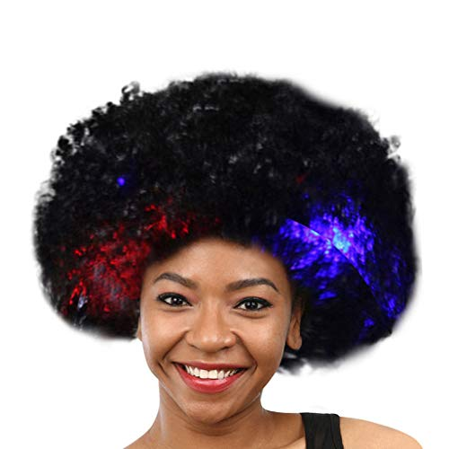 Chenchen Itd Straight Wigs Under 23, Party Disco LED Flash Clown Hair Football Fan-Adult Afro Masquerade Hair Wig ,Women's Costume Wigs, Beauty & Personal -