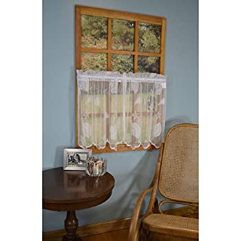 Amazon Com Curtain Chic Seashells Lace Tiers 36 Inch