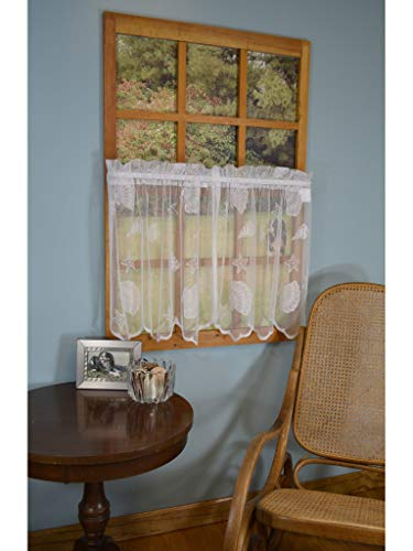 Curtain Chic Seashells Lace Tiers, 24-Inch, - Tiers Lace Curtain